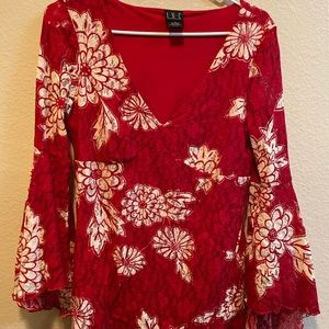Lace Red Flared sleeves I.N.C top